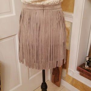 BB Dakota Skirts - BB Dakota Faux Suede Fringe Skirt
